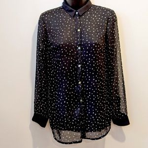 Zara trafaluc black sheer button front blouse S